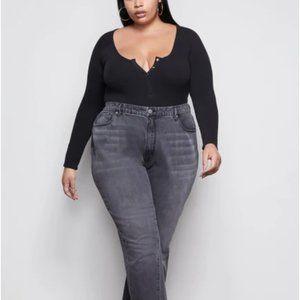 Long Sleeve Button Detail Bodysuit (Black)